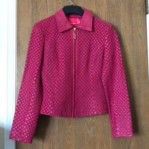 St. John size S pink weave leather jacket EUC